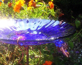 "Cobalt Blue BIRD BATH, 14K Gold, stained glass, 8.5"" diameter, fused glass, copper art, Garden Art, Home Decor"