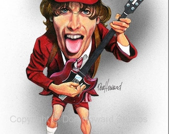 Don Howard Depiction of Angus Young Celebrity Caricature