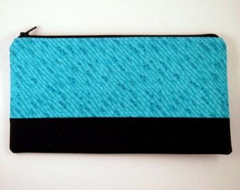 Color Block Blue Zipper Pouch, Make Up Case, Gadget Bag, Pencil Case