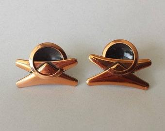 Vintage MCM Modernist Copper Screw Back Earrings Unmarked