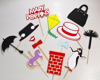 Mary poppins inspired 13 pc party props set, mary poppins photobooth