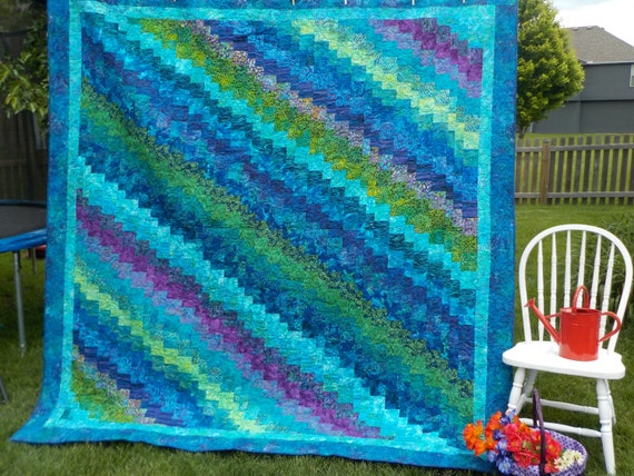 Queen Size Quilt King Size Quilt Bluegreen Purple Batik