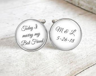 Boutons de manchette personnalisés pour le marié, boutons de manchette mariage personnalisé pour homme, boutons de manchette initiales, souvenir Date de mariage, cadeau pour le marié, cadeau de la mariée