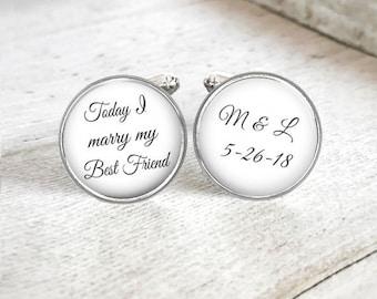 Personalized Cuff Links for Groom, Mens Custom Wedding Cufflinks, Initial Cufflinks, Wedding Date Keepsake, Gift For Groom, Gift From Bride
