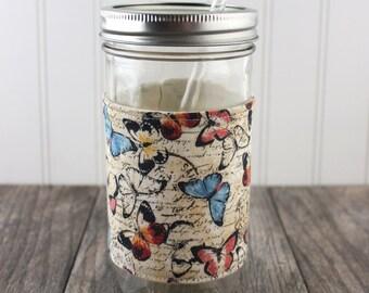 Butterfly Print Mason Jar Sleeve - for PINT AND A HALF Mason Jar (24 oz)