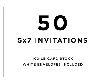50 lb card stock paper etsy 50 professionally printed 5x7 invitations with white envelopes 100 lb card stock printing for stopboris Choice Image
