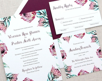 Burgundy Floral Border Wedding Invitations, Protea Watercolor Floral Wedding Invitations, Protea Flowers Wedding Invitations, Floral Border