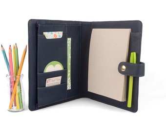 READY TO SHIP! Navy Calaway A5 Leather PadFolio / Portfolio Multiple Pockets, Snap Closure, Personalized & Cocoa Paper Note Pad.