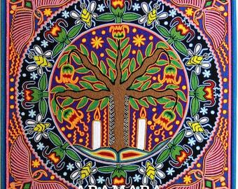 "23.5"" Huichol painting, Native art, Mexican art, Mexican decor, Mexican wall art, Huichol art, Mexican painting, Mexican folk art, 60-110"