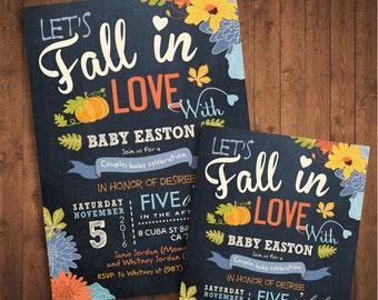 Fall in love Boy Baby Shower Invitation. Little Pumpkin Baby Shower. DIY card. Digital Printable card