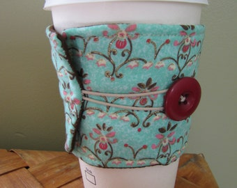 Blue Floral Coffee Sleeve Cup Cozy