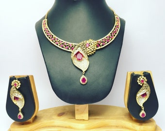 Indian Bollywood Style CZ Gold Plated Wedding Necklace Bridal Set Traditional
