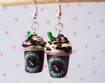 Mocha Frap Blended Drink Polymer Clay Earrings, Miniature Clay Dessert Food Jewelry, Hook Earrings