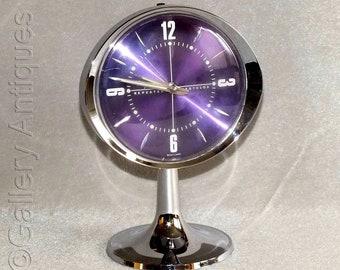 Vintage Retro Westclox (Scotland) Big Ben Sculptura in Purple and Chrome Working Pedestal Repeater Alarm mantle Clock c1970's (ref: H152)