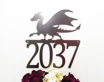 Dragon Outdoor Metal House Number Sign - Silver, 12x12.75, Custom Sign, Address Plaque, Outdoor Sign, Metal House Number