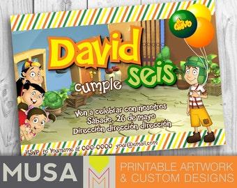 EL CHAVO Birthday Party printable invitation / English or Spanish
