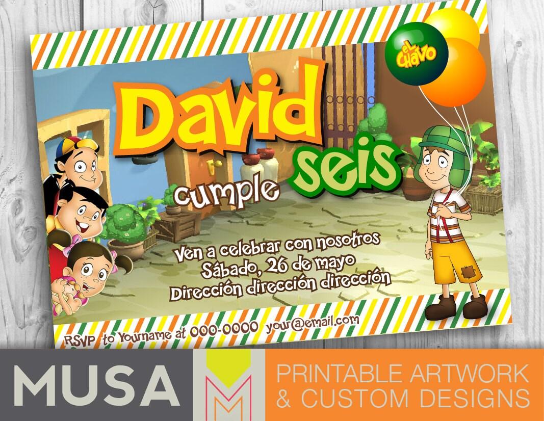 EL CHAVO Birthday Party printable invitation / English or