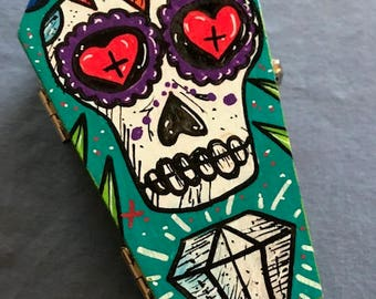 Día de Muertos hand painted themed coffin