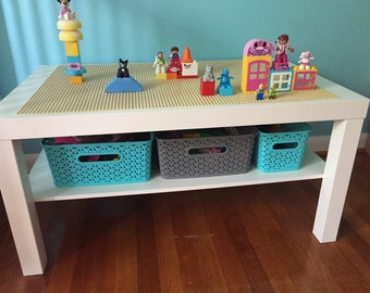 """Building block table 35"""" by 21"""" with storage shelf(custom color options)"""