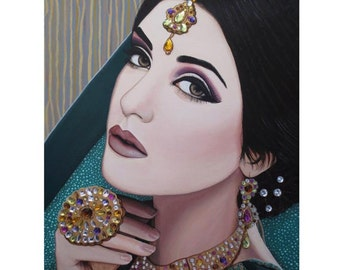 Viridian Indian Beauty - ART PRINT - 8 x 10 - By Mixed Media Artist Malinda Prudhomme