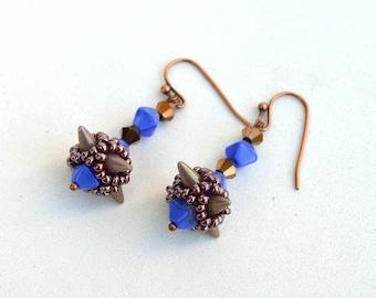 Blue and copper spiky earrings Beaded bead earrings Beadwork cluster earrings Small cluster earrings Beadwork jewelry Israel art E1109