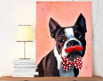 Boston Terrier Canvas Art Print - Red Moustache - Boston Terrier Canvas Wall art Boston Terrier gift dog canvas print dog canvas wall art