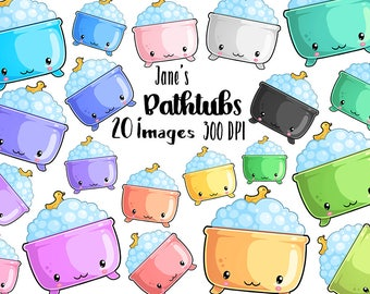 Kawaii Bathtubs Clipart - Kawaii Download - Instant Download - Bathing - Reminders - Commercial Use