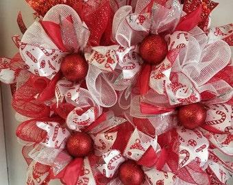 Holly Jolly  Deco Mesh Christmas Wreath