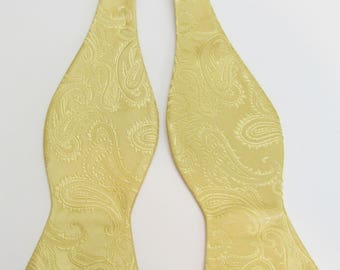 Mens Bowtie Gold 24k  Tone On Tone Paisley Self Tie Bow Tie
