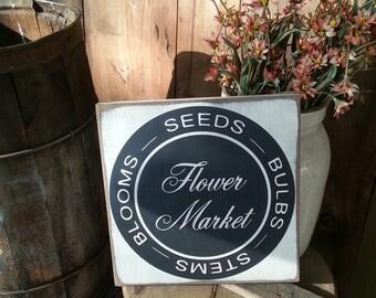 Flower Market Sign - Farmhouse Sign - Farmhouse Decor - Kitchen Sign - Fixer Upper Sign - Kitchen Decor - Primitive Signs - Vintage Market