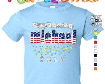 Happy Memorial Day - T-Shirt - Boys - infant - Personalized with Name & Year