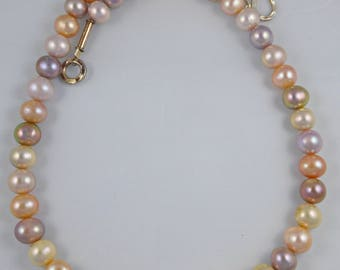 Round Natural Variegated Pink Freshwater Pearls