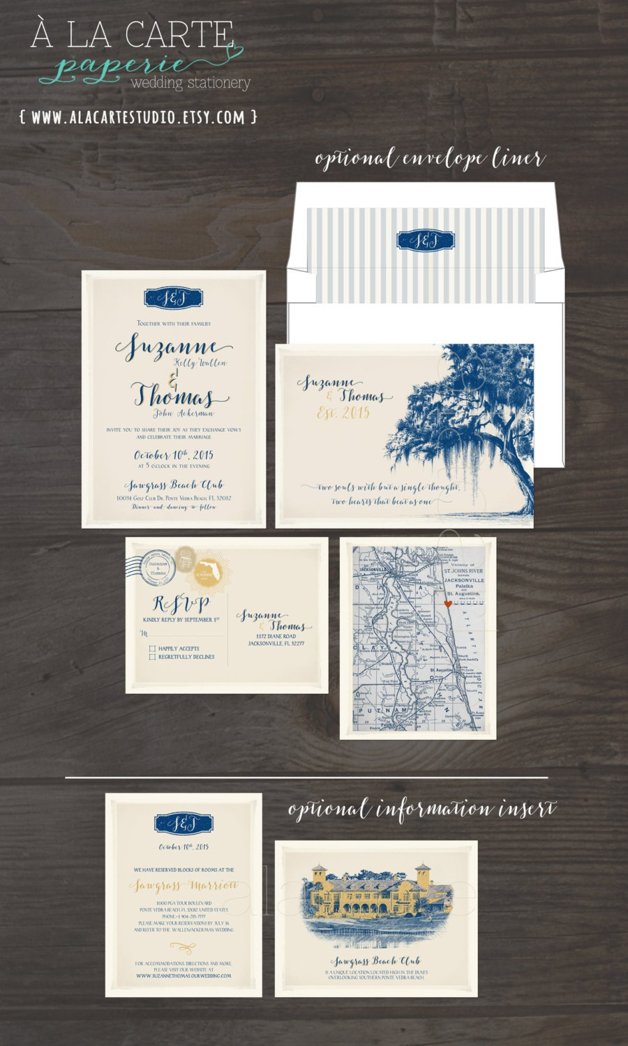 Destination wedding invitation Vintage Florida Oak Tree with