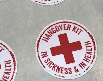 """Wedding Favor Sticker, Hangover Kit Bag Stickers, Hangover Kit Labels, Hangover Kit Stickers, Wedding Favor Labels, 2"""" round"""
