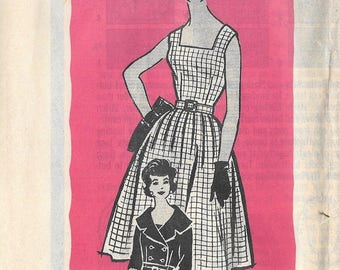 Vintage 1950s / 1960s Marian Martin Mail Order Rockabilly DRESS Sewing Pattern Size 16 Bust 36