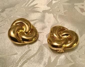Gold Swirl Ear Clips