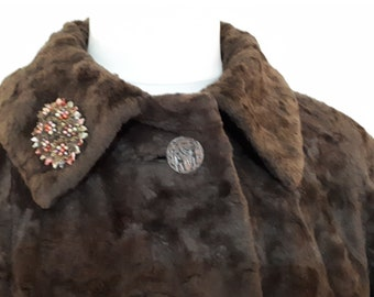Vintage 1920s Reville of London Chocolate brown faux fur coat with Egyptian Revival buttons womens coat faux fur size Medium