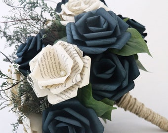 Paper Bouquet - Sweet Love Rustic Chic Book Page Bouquet - A Bridesmaid Bouquet Customized to Your Colors and Book Of Your Choice