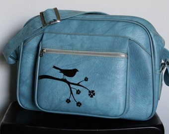 UPCYCLED Sky Blue VINTAGE Messenger Bag w Bird on a Branch and Cherry Blossoms by ELEPHANNIE