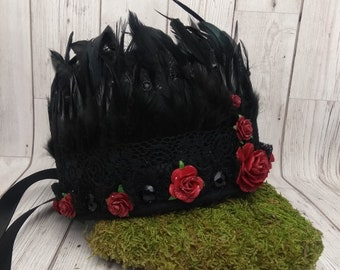 Black feather crown, dark queen, costume headdress, witch, raven, crow, border morris, Halloween headdress, evil queen, red rose, feathers,