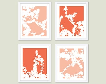 Cherry Blossoms Art Prints -  Cherry Tree Art - Coral Peach and White - Spring Branches Wall Art - Modern Decor - Aldari Art