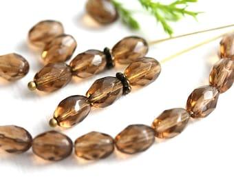 8x6mm Smokey Topaz oval beads, brown czech glass fire polished  beads - 30Pc - 1075