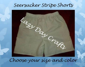 Seersucker Stripe Shorts  - Toddler Size 12 months to 5T - Many Colors Available