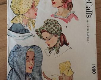 Vintage 1950s McCall's 1980 Sun Bonnet