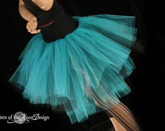 Three Layer Petticoat tutu skirt teal silver black Adult dance costume race bridesmaid bridal wedding - You Choose Size -Sisters of the Moon
