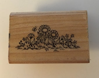 Vintage Hero Arts Wood Mounted Rubber Stamp. Flower Grass Border.