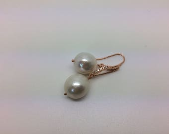 White Baroque pearl earrings, silver 925 gold plated zirconia frame