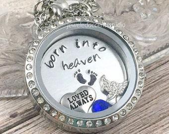 Baby Memorial Locket, Born Into Heaven, Stillborn Gift, Miscarriage Keepsake, Infant Loss Gift, Hand Stamped, Floating Locket, Sympathy Gift