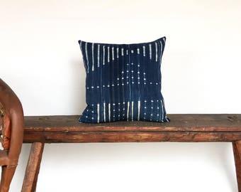 Vintage African Indigo Mudcloth Textile Stripe Boho Pillow Cover