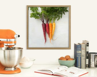 Colorful Food Photography Print - Rainbow Carrots Art print - Modern Farm Kitchen Wall Decor - Vegetable Garden Still Life Art Print